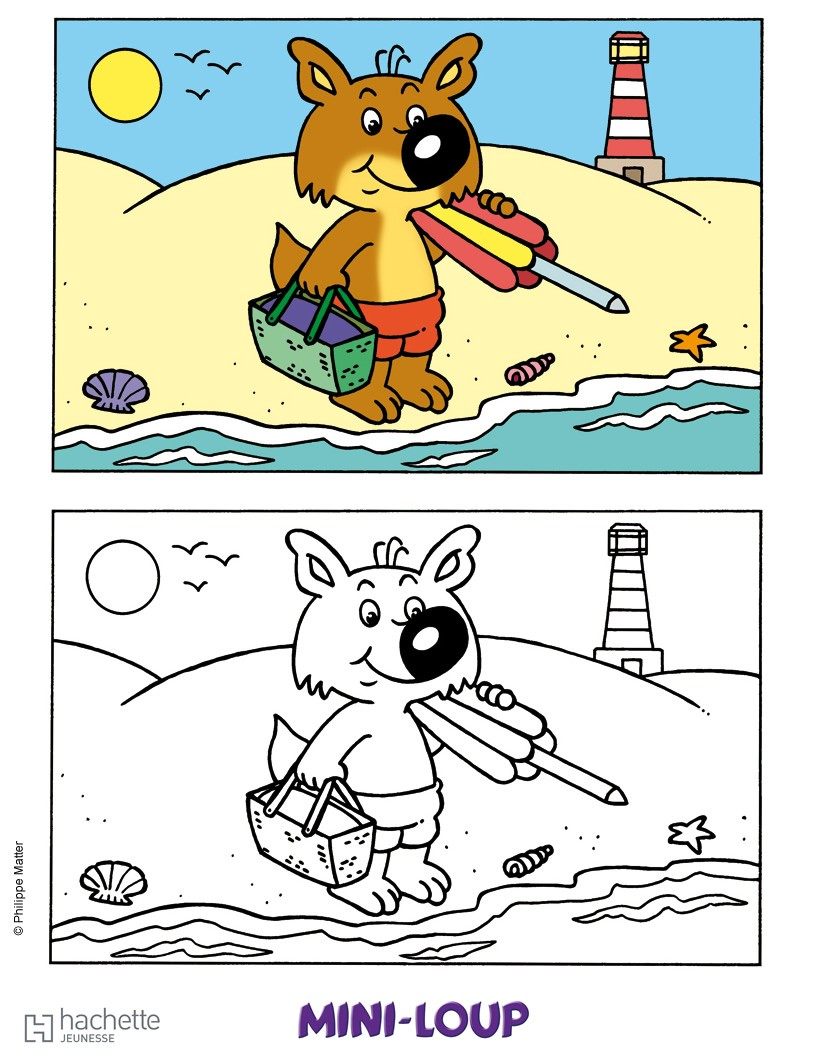 mini loup colorier sur la plage coloriage coloriage dessins animes coloriage