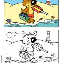 MINI-LOUP à colorier sur la plage - Coloriage - Coloriage DESSINS ANIMES - Coloriage MINI-LOUP