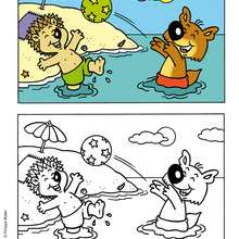 coloriage de MINI-LOUP à la plage - Coloriage - Coloriage DESSINS ANIMES - Coloriage MINI-LOUP