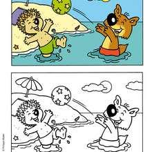 coloriage de MINI-LOUP à la plage