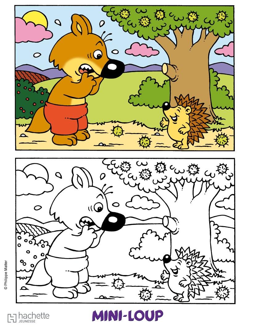 Coloriages mini loup et le h risson - Mini loup coloriage ...