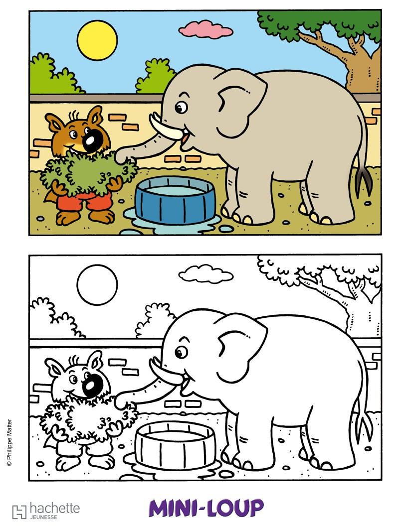 Coloriages mini loup et l 39 l phant - Mini loup coloriage ...