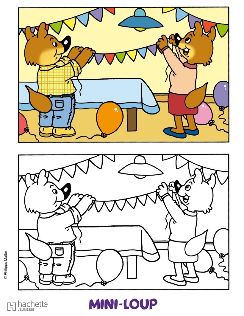 Coloriages l 39 anniversaire de mini loup colorier - Mini coloriage ...