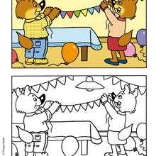 L'anniversaire de MINI-LOUP à colorier - Coloriage - Coloriage DESSINS ANIMES - Coloriage MINI-LOUP