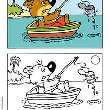MINI-LOUP à la pêche - Coloriage - Coloriage DESSINS ANIMES - Coloriage MINI-LOUP