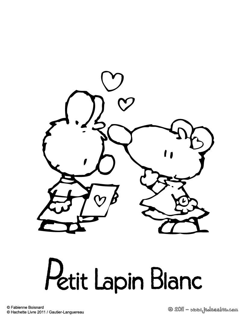 Coloriages petit lapin blanc colorier gratuitement - Coloriage petit lapin ...