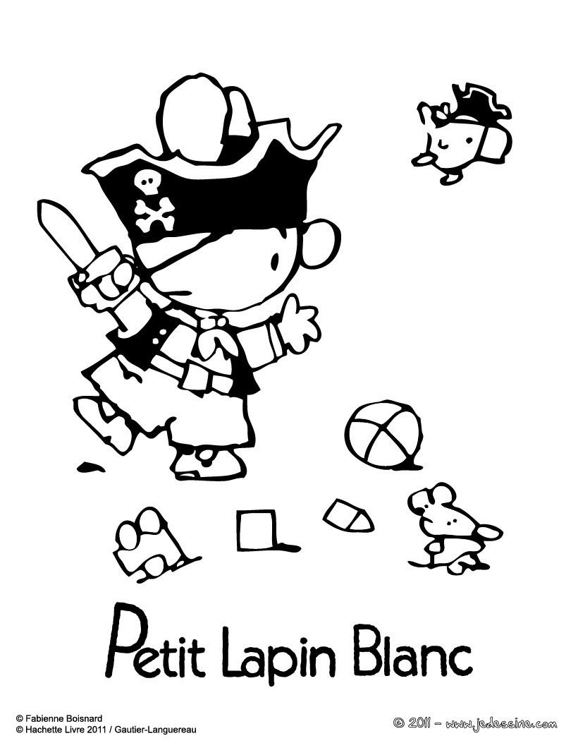 Coloriages coloriage du pirate petit lapin blanc - Coloriage petit lapin ...