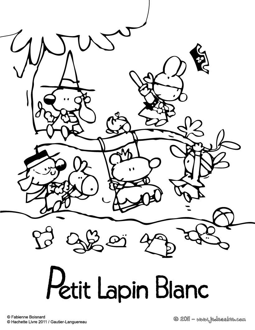 Coloriages les amis de petit lapin blanc colorier - Coloriage petit lapin ...