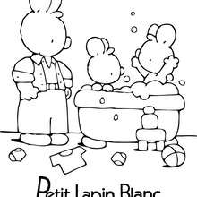 PETIT LAPIN BLANC prend le bain - Coloriage - Coloriage PETIT LAPIN BLANC