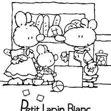 Coloriage : PETIT LAPIN BLANC à la boulangerie
