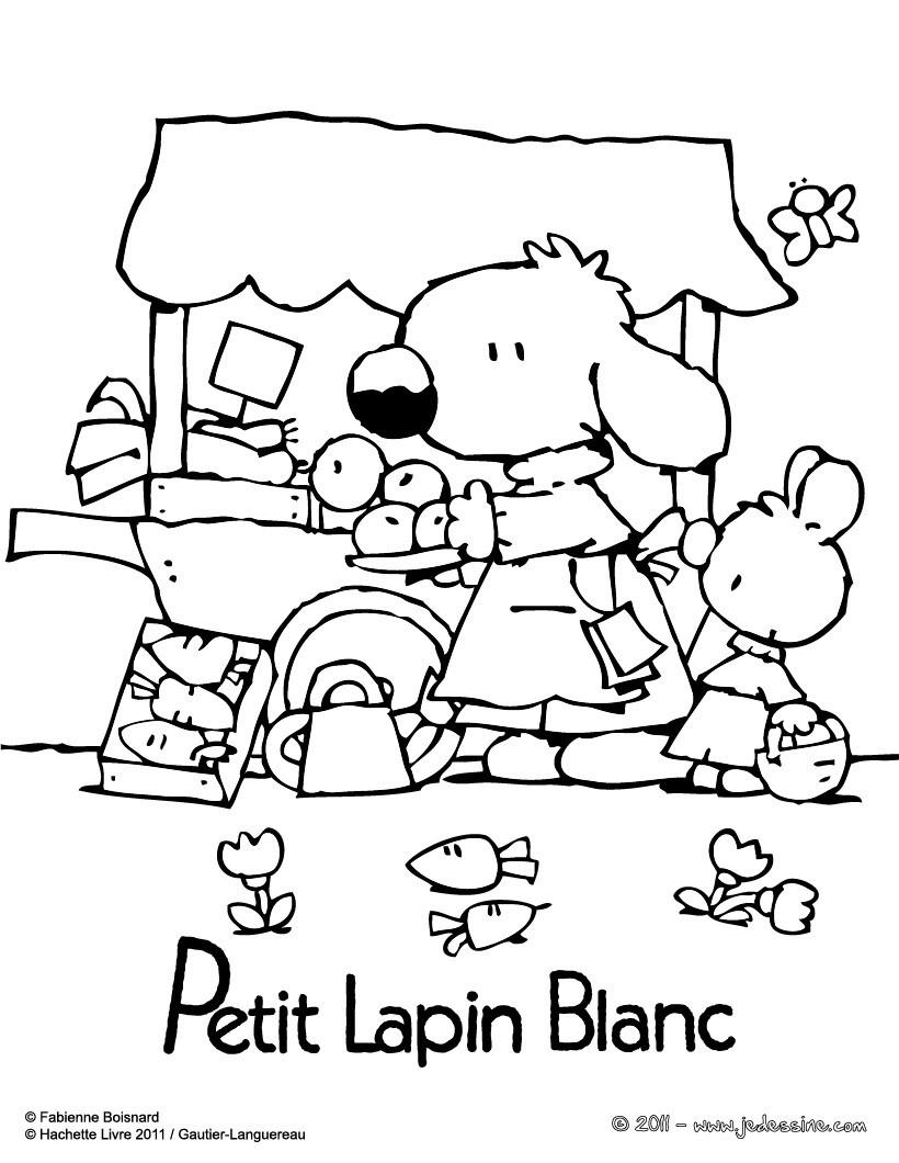 Coloriage : PETIT LAPIN BLANC au marché