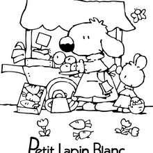 PETIT LAPIN BLANC au marché - Coloriage - Coloriage PETIT LAPIN BLANC