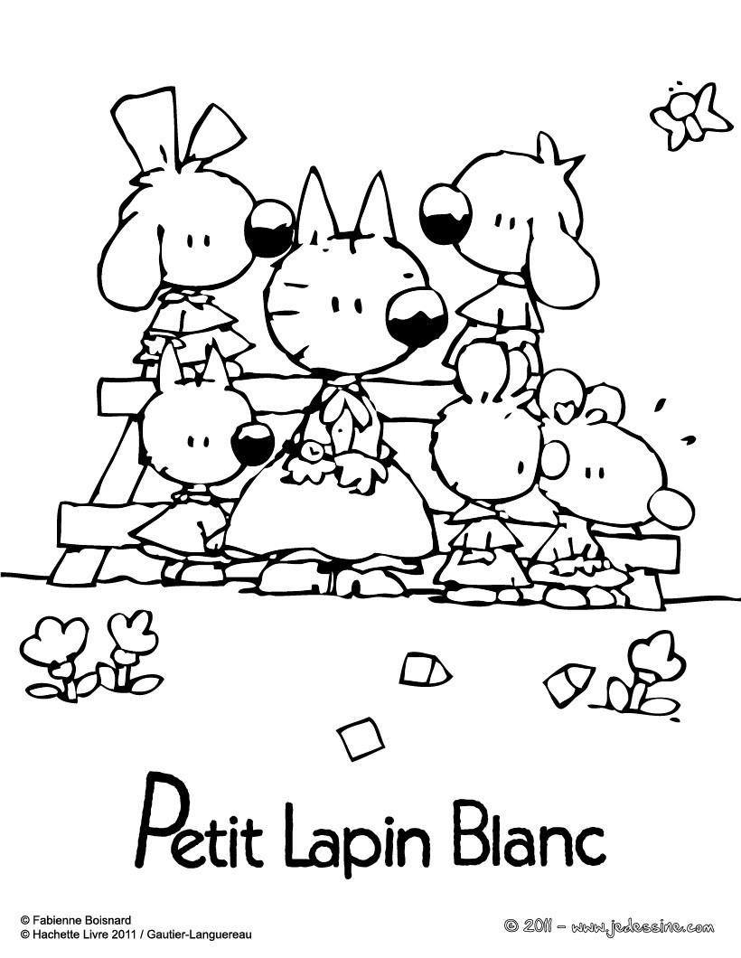 Coloriages coloriages de petit lapin blanc - Coloriage petit lapin ...