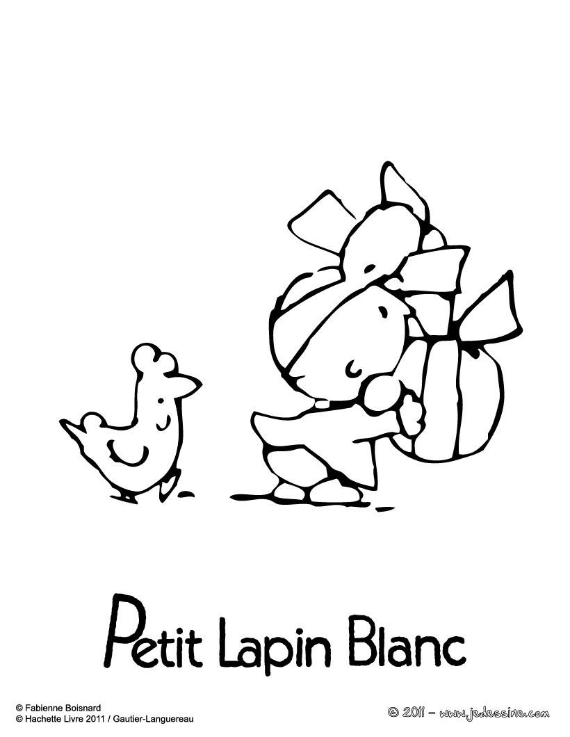 Coloriages petit lapin blanc p ques - Coloriage petit lapin ...