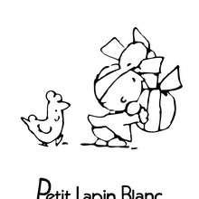 Coloriage : PETIT LAPIN BLANC à Pâques