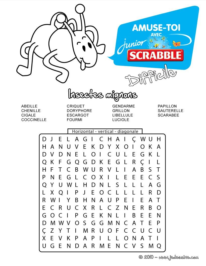 Jeux De Difficile 15 Insectes Cachés Les Mots Mêlés Scrabble