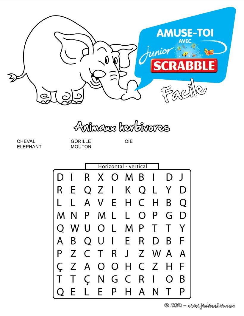 Jeux de facile 5 animaux herbivores cach s les mots - Grille de scrabble gratuit ...
