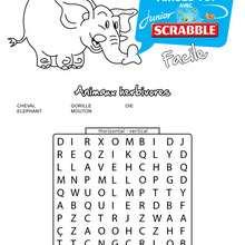 Facile : 5 animaux herbivores cachés - Les mots mêlés SCRABBLE - Jeux - Les mots mêlés - Les mots mêlés SCRABBLE