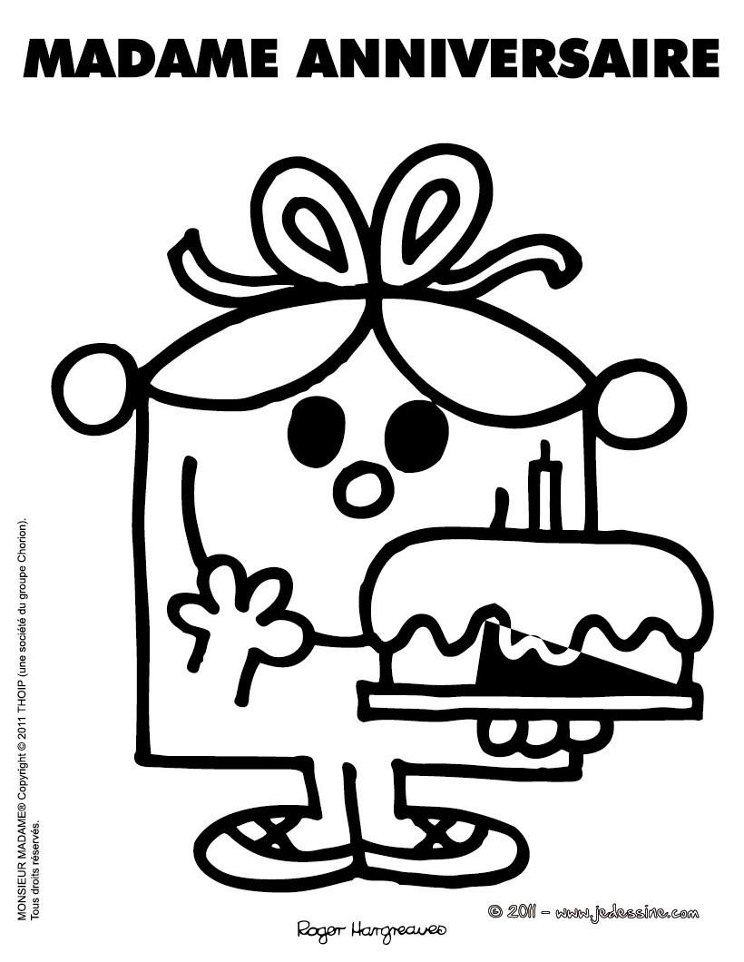 Coloriages coloriage en ligne madame anniversaire fr - Joyeux anniversaire a colorier ...