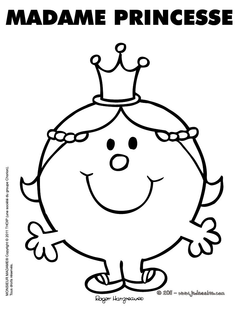Coloriages coloriage gratuit madame princesse - Coloriages princesse ...
