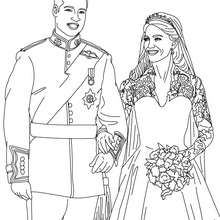 Coloriage gratuit KATE et WILLIAM