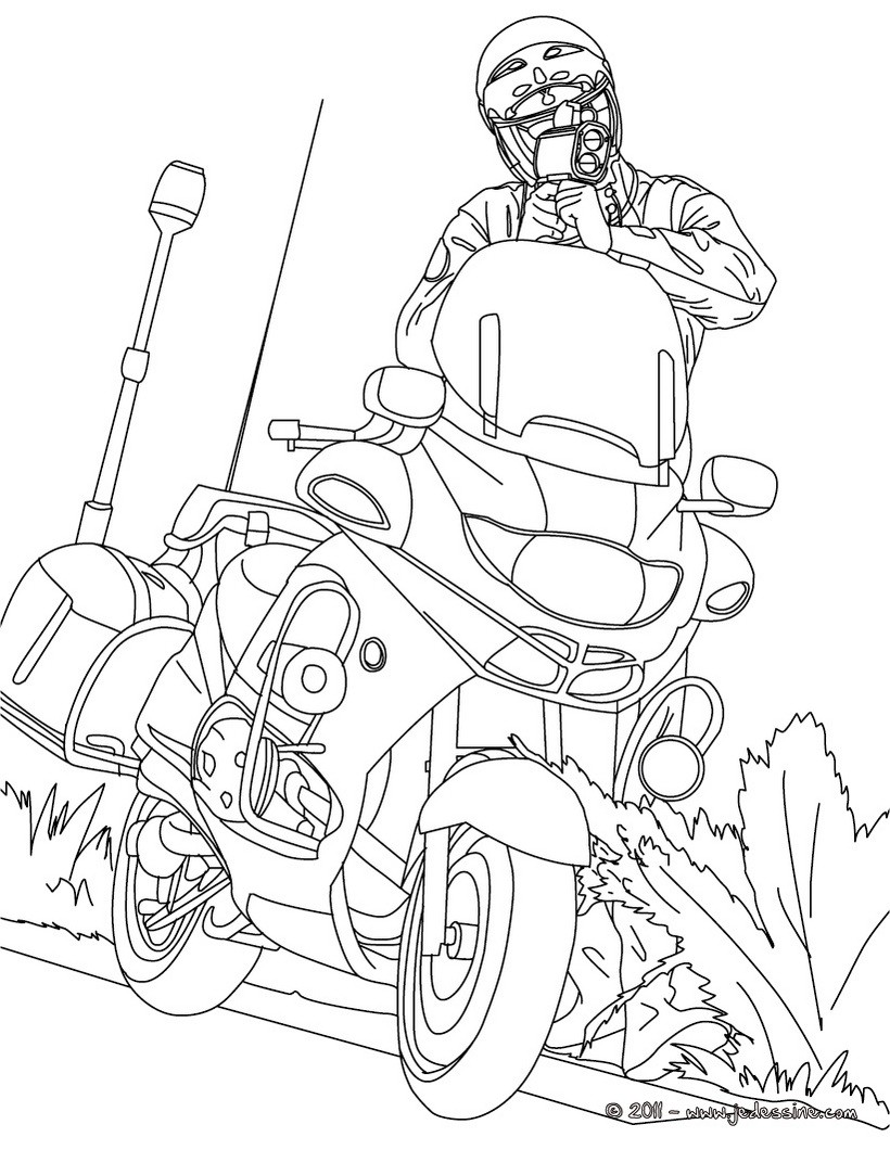 Coloriages coloriage motard - Coloriage police ...
