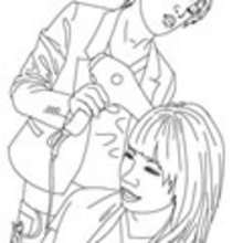 Coloriage COIFFEUSE - Coloriage GRATUIT METIER - Coloriage