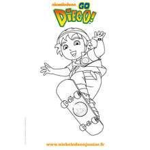 Coloriage à imprimer DIEGO fait du skate - Coloriage - Coloriage DORA - Coloriage TOURNEE NICKELODEON