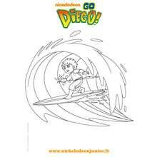 Coloriage gratuit DIEGO fait du surf - Coloriage - Coloriage DORA - Coloriage TOURNEE NICKELODEON