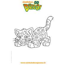 Le jaguar de DIEGO  colorier gratuitement - Coloriage - Coloriage DORA - Coloriage TOURNEE NICKELODEON