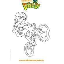 Coloriage en ligne DIEGO fait du vélo - Coloriage - Coloriage DORA - Coloriage TOURNEE NICKELODEON