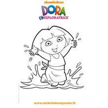 Coloriage à imprimer de DORA à la plage