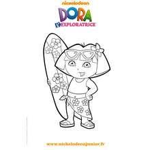 Coloriage gratuit DORA fait du surf