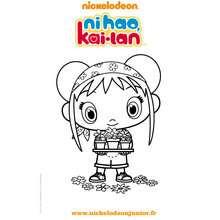 Coloriage à imprimer KAI LAN et les fleurs - Coloriage - Coloriage DORA - Coloriage TOURNEE NICKELODEON