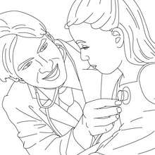 Coloriage docteur qui osculte un enfant