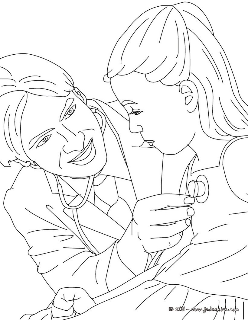 Coloriages coloriage docteur qui osculte un enfant fr - Coloriage docteur ...