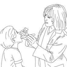 Coloriage medecin laryntologue qui soigen un enfant - Coloriage - Coloriage GRATUIT METIER - Coloriage MEDECIN