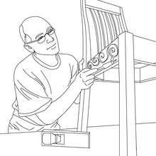 Coloriage menuisier qui fabrique une chaise en bois - Coloriage - Coloriage GRATUIT METIER - Coloriage MENUISIER