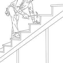 Coloriage menuisier qui construit un escalier en bois - Coloriage - Coloriage GRATUIT METIER - Coloriage MENUISIER