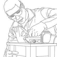Coloriage menuisier qui ponce une planche de bois - Coloriage - Coloriage GRATUIT METIER - Coloriage MENUISIER