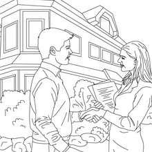 Coloriage métier agent immobilier