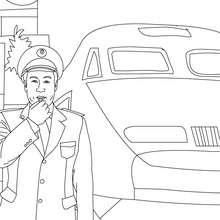 Coloriage du chef de gare SNCF - Coloriage - Coloriage GRATUIT METIER - Coloriage METIER SNCF