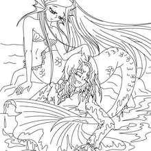 coloriage conte la petite Sirène - Coloriage - Coloriage de CONTES CELEBRES - Coloriages des contes d'Andersen