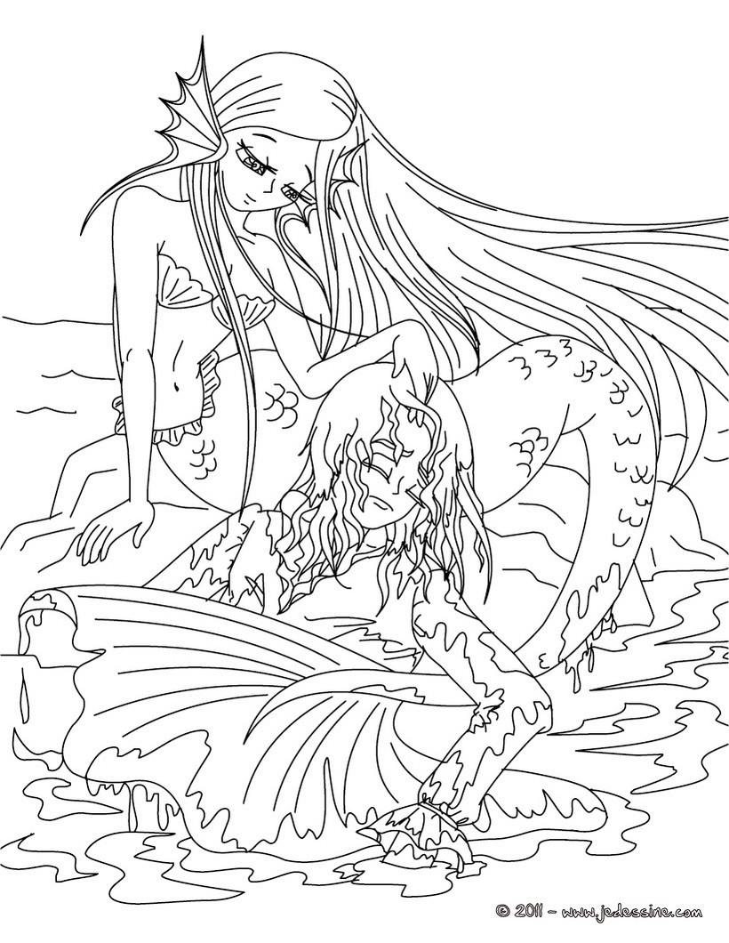 coloriage conte la petite Sirène