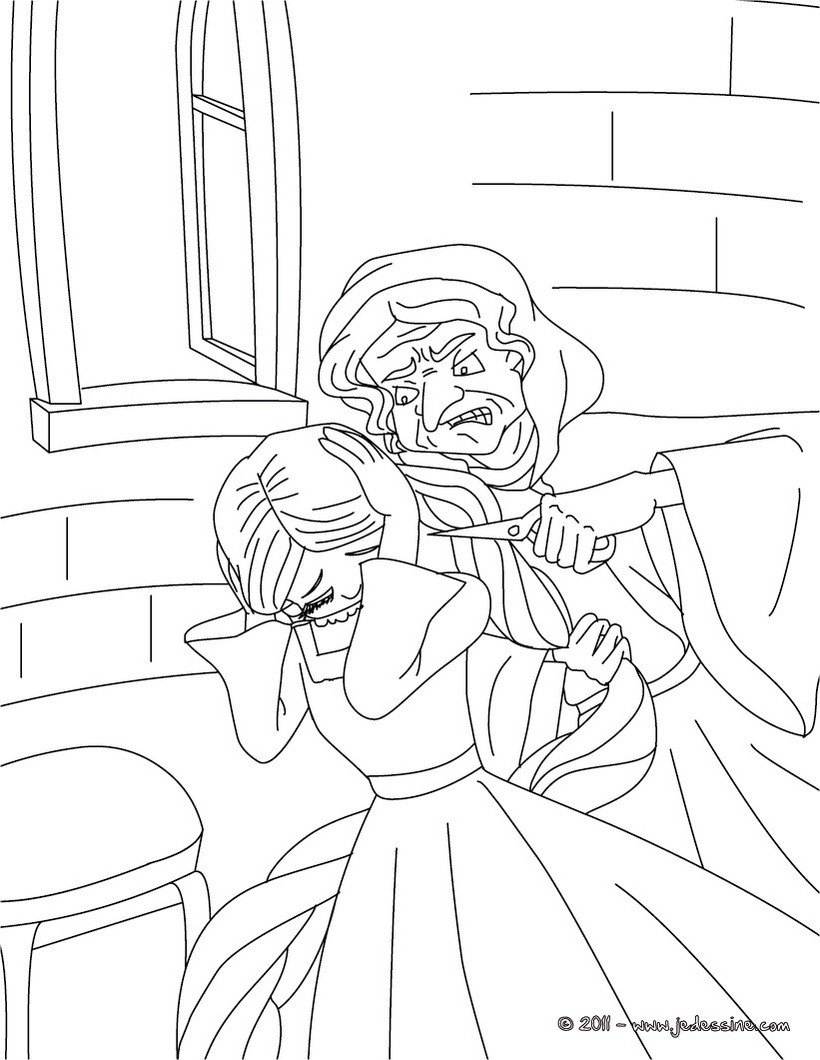 Coloriages coloriage de raiponce et gothel for Rumpelstiltskin coloring pages