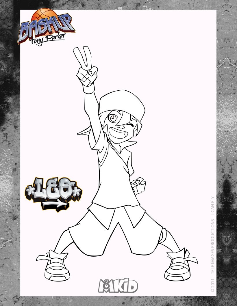 Coloriages coloriage high5 baskup leo - Tony parker dessin anime ...