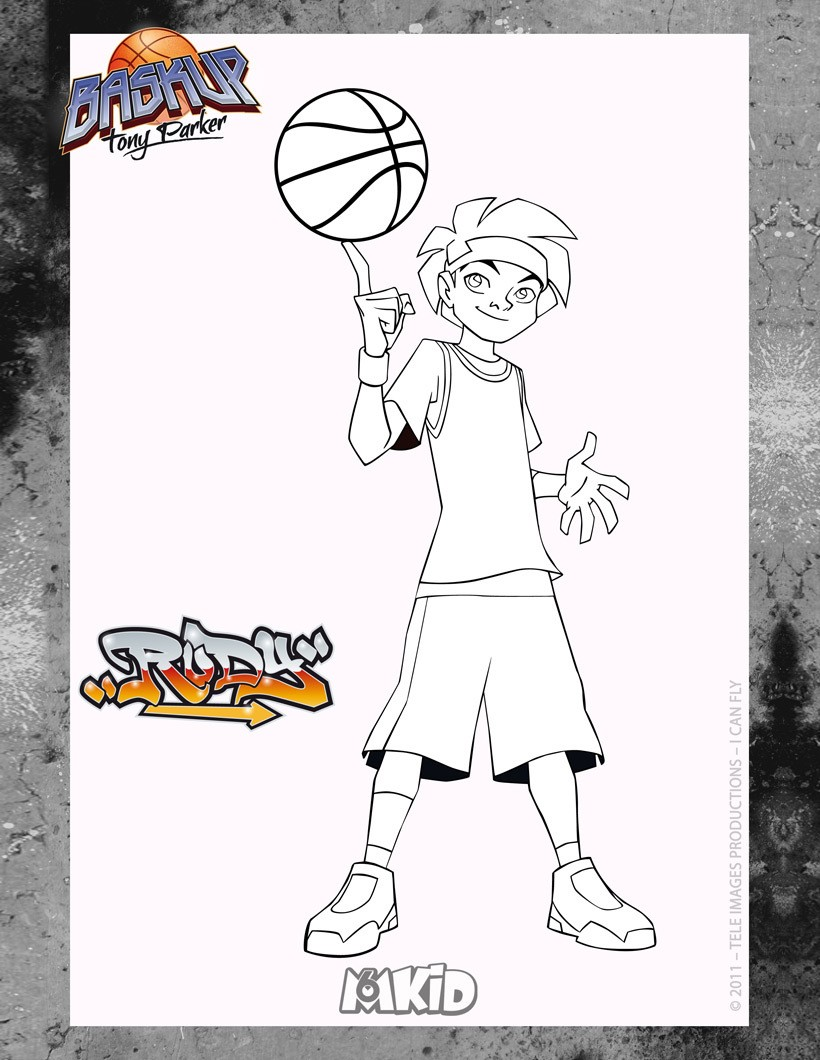 Coloriages coloriage high5 baskup rudy - Tony parker dessin anime ...