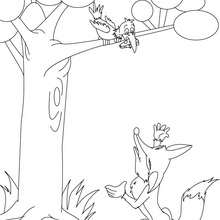 Coloriage Le Corbeau et le Renard - Coloriage - Coloriage de CONTES CELEBRES - Les fables de La Fontaine à colorier