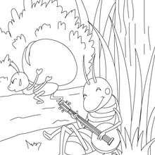 Coloriage gratuit La Cigale et la Fourmi - Coloriage - Coloriage de CONTES CELEBRES - Les fables de La Fontaine à colorier
