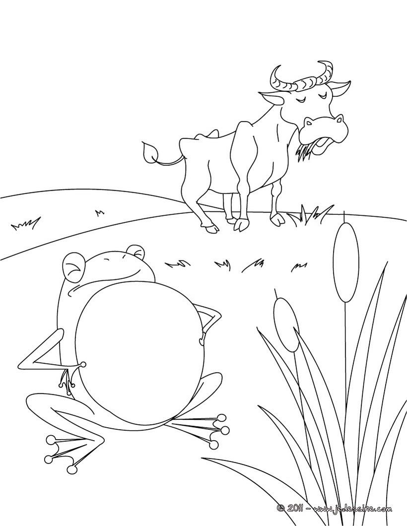 Coloriages coloriage la grenouille qui voulait se faire - Image la grenouille et le boeuf ...